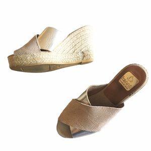 Kanna Wedge Espadrille crossed leather sandal jute